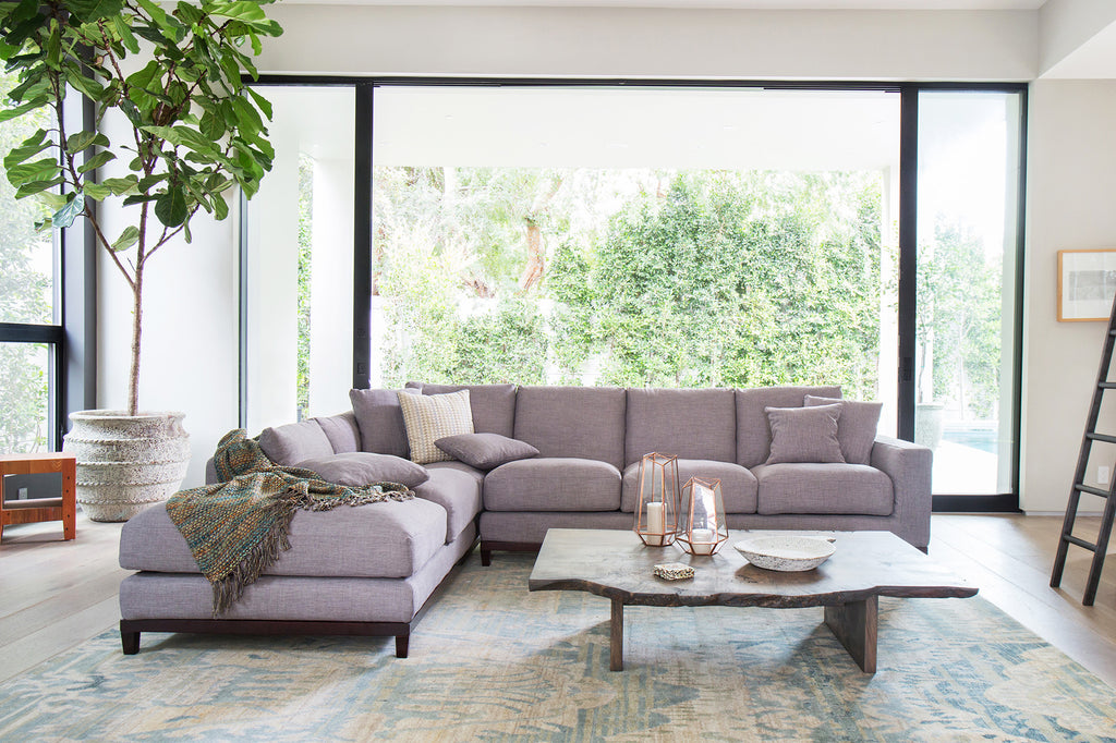 1011FTGRYL,Kellan Sectional Sofa Left Chaise in Grey Tweed