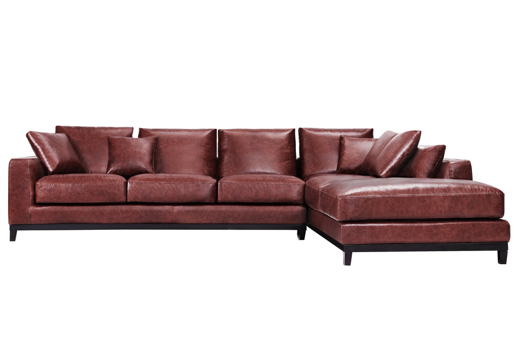 1011LTHBRNR,Kellan Sectional Sofa Right Chaise in Distressed Brown Leather