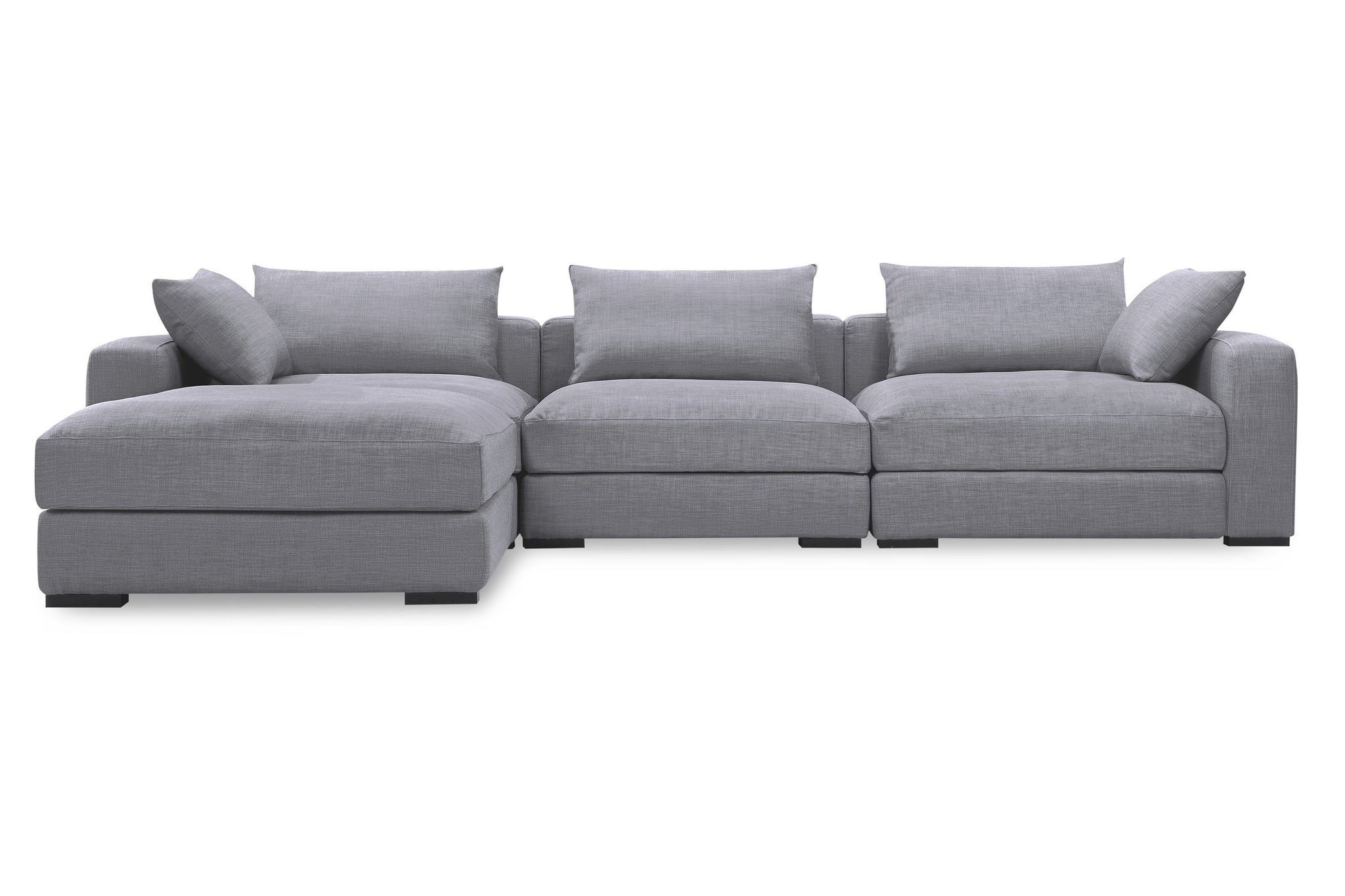 1038FTGRY,Remissa Sectional Sofa in Grey Tweed