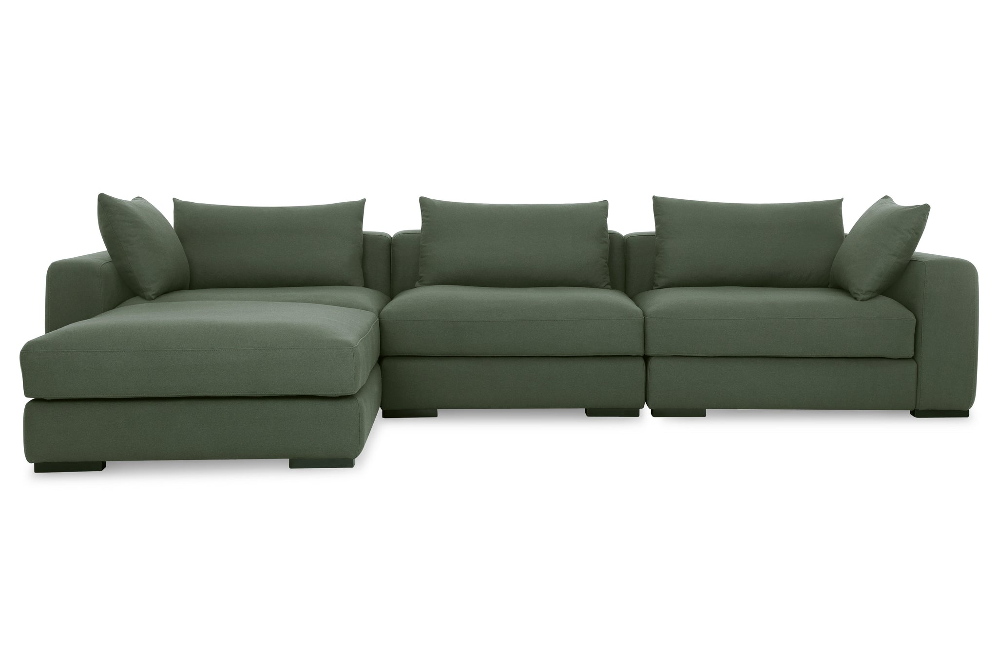 1038FRGRN,Remissa Sectional Sofa in Forest Green Felt