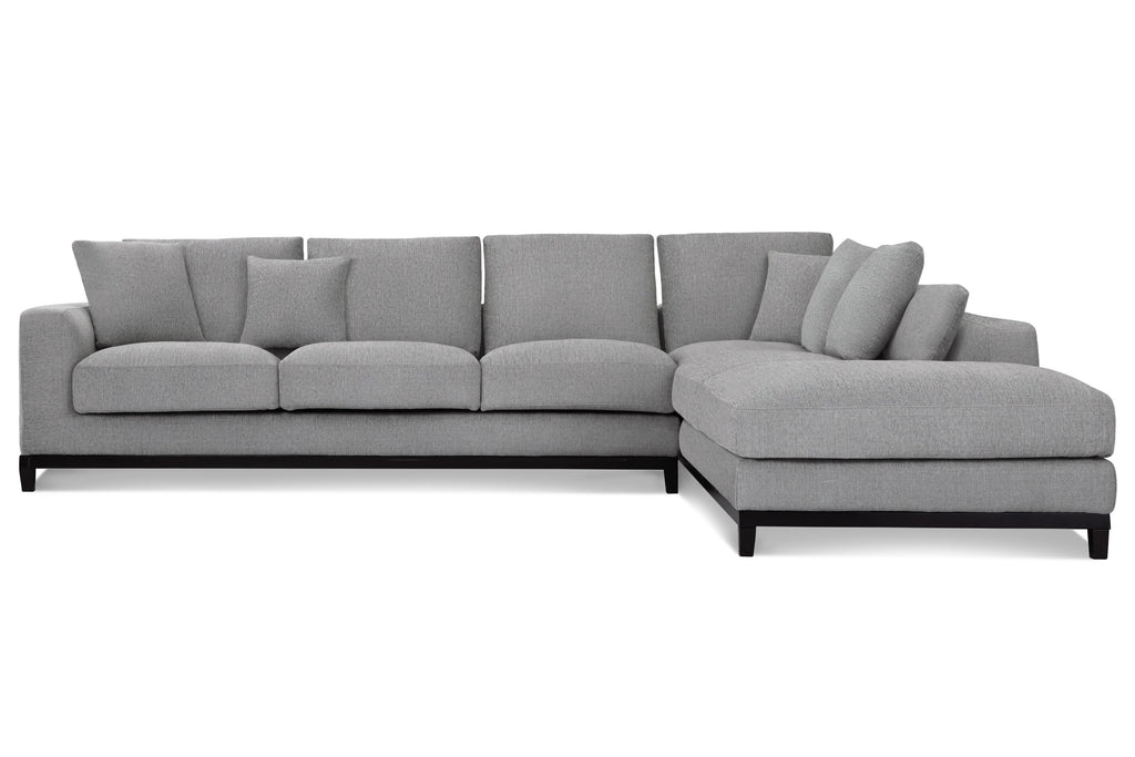 1011FWLGR,Kellan Sectional Sofa Right Chaise in Light Grey Weave