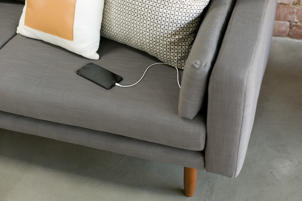 1030DGRY,Capsule Home Pasadena 78 Sofa with USB Ports in Dark Grey Linen
