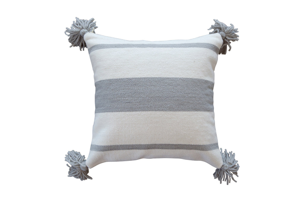 2012GRY,Thick Striped Pillow In Grey