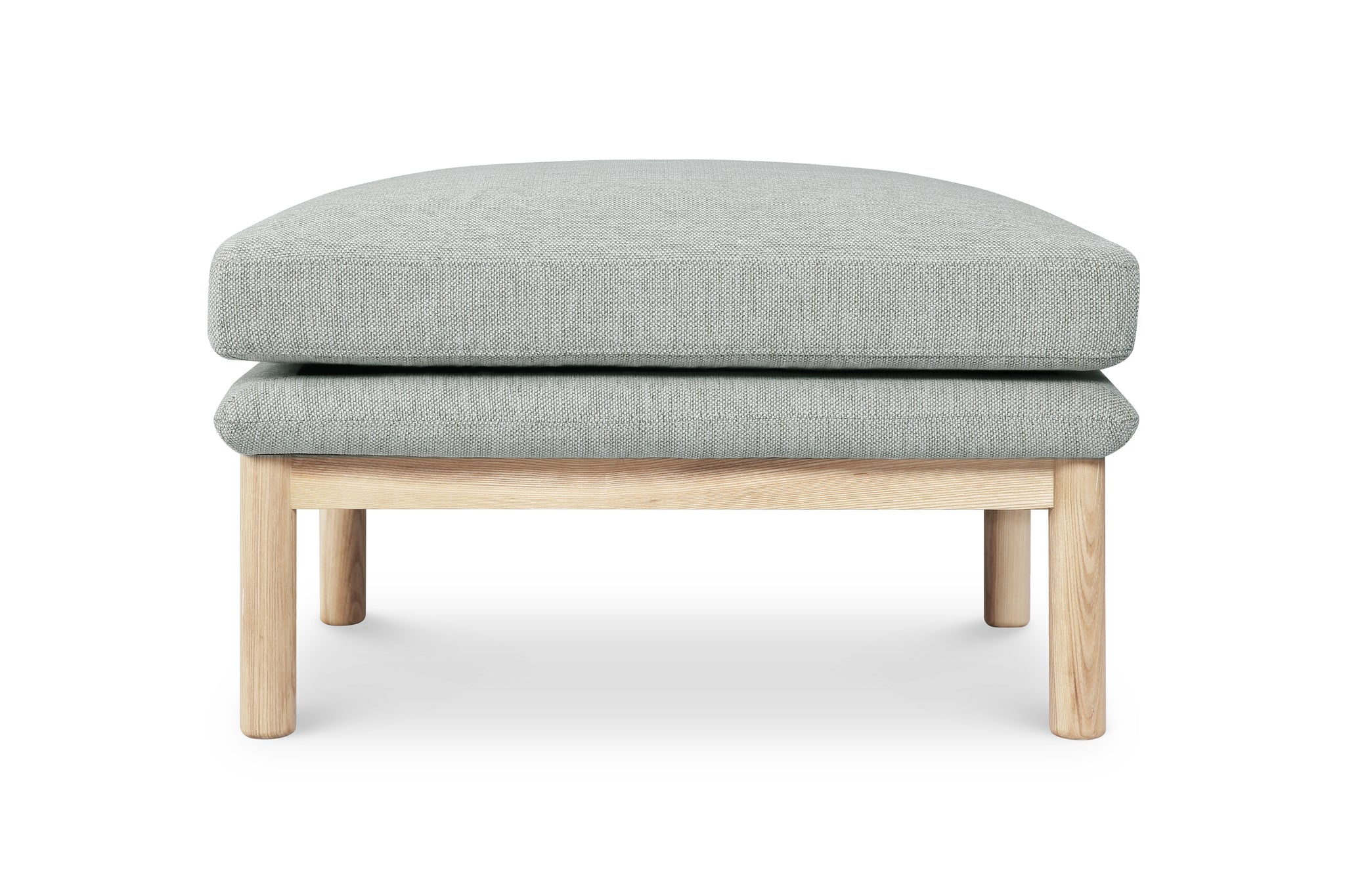 1141FWLG,Angle Arm Ottoman in Light Grey Weave with Ash Base