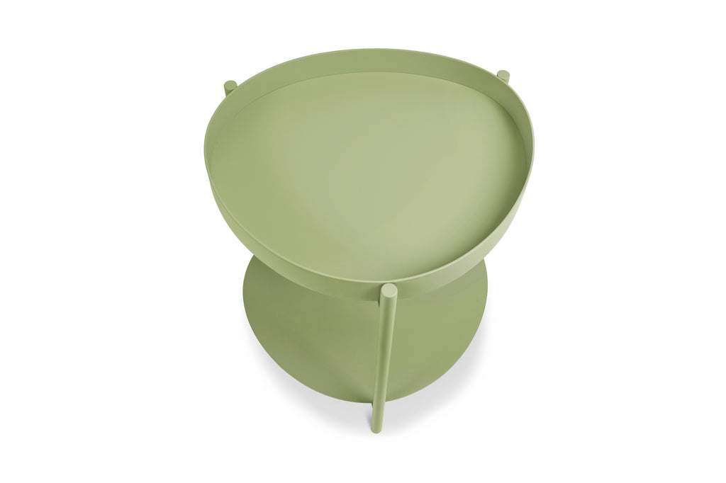 158PGR,Ovoid Side Table In Pale Green Finish