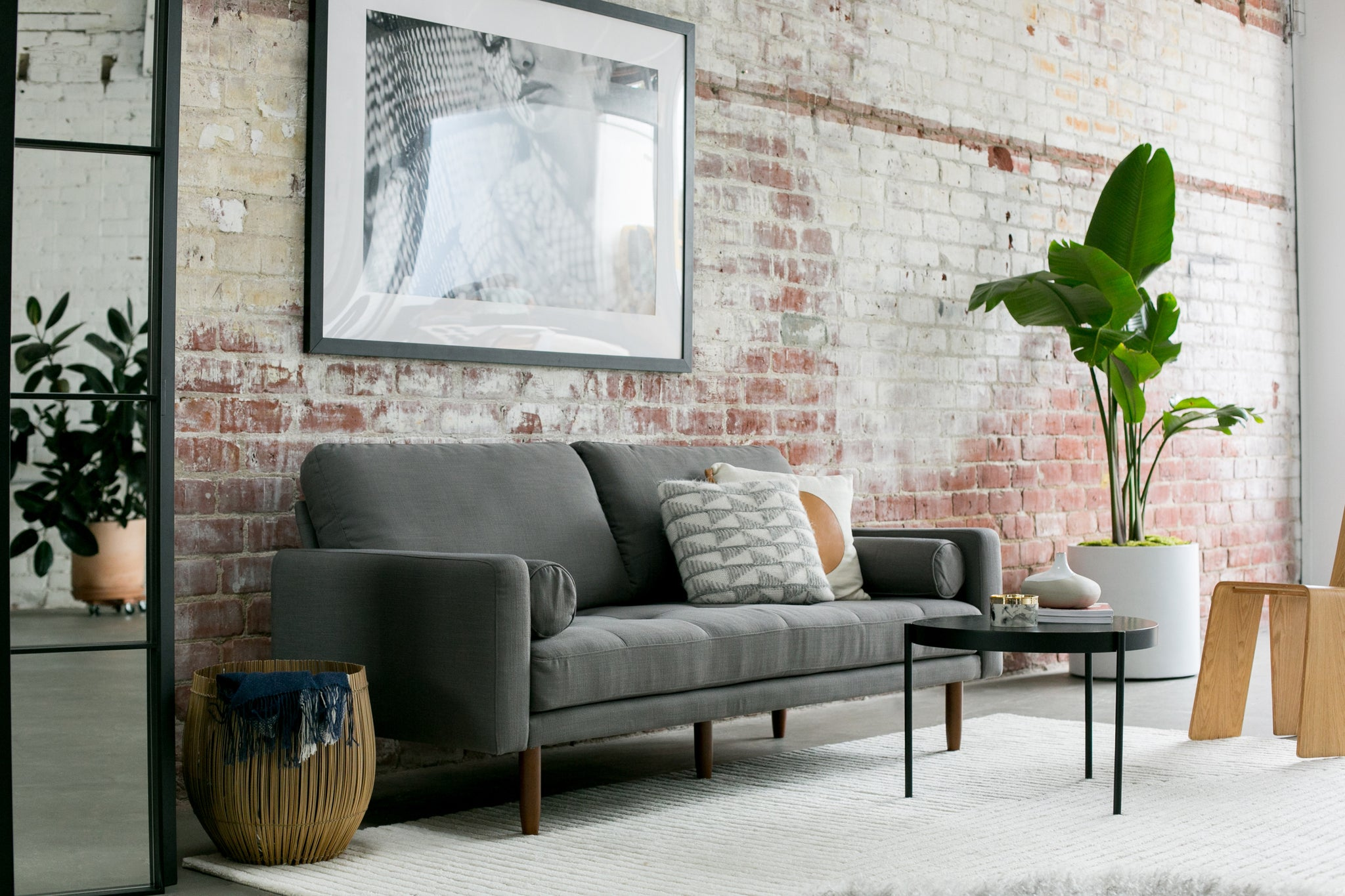1031dgrycapsule home brooklyn 78 mid century sofa with usb ports in dark grey linen