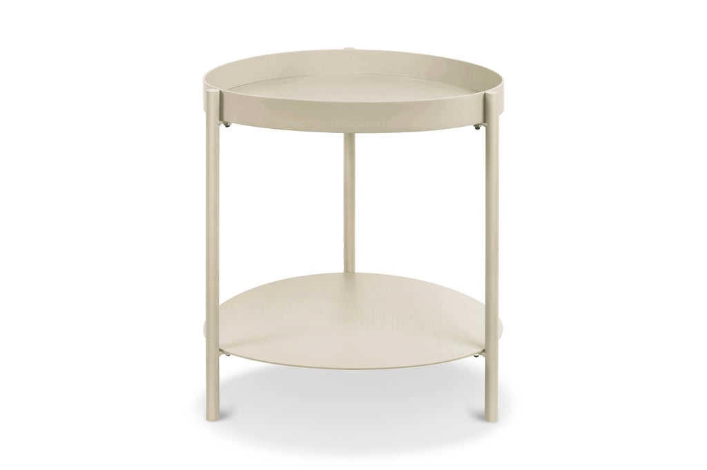 158TPE,Ovoid Side Table In Taupe Finish