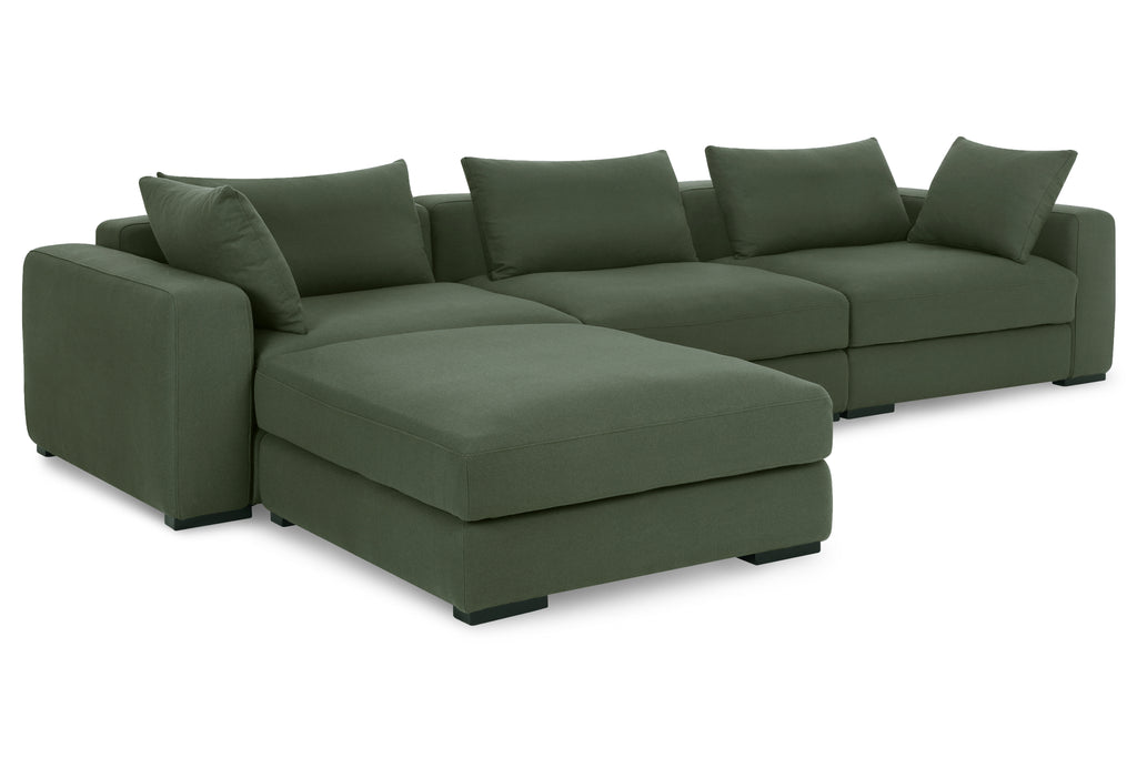 1036FRGRN,Remissa Corner Sofa in Forest Green Felt