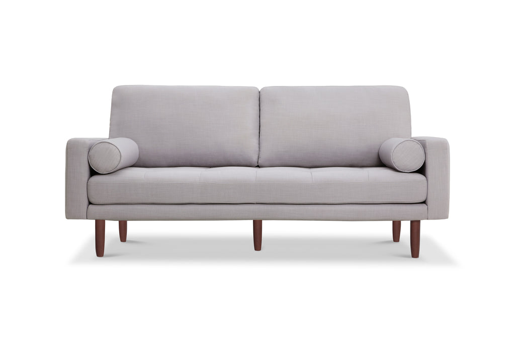 X1031LNLG,Capsule Home Brooklyn 78 Mid Century Sofa With USB Ports In Light  Grey Linen