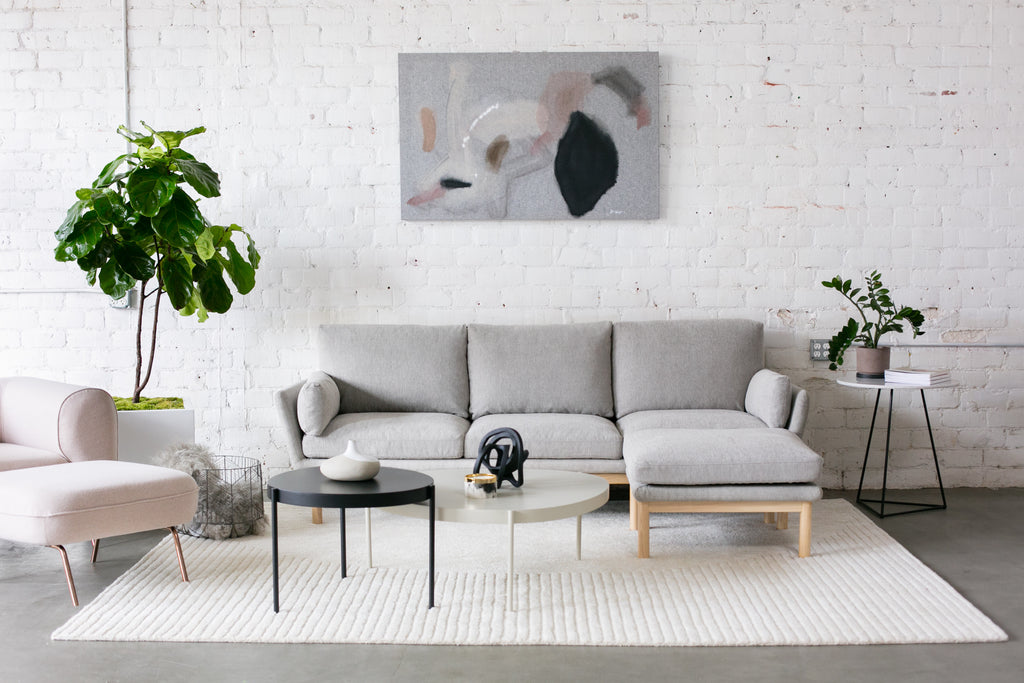 1041FWLG,Angle Arm Sofa in Light Grey Weave with Ash Base