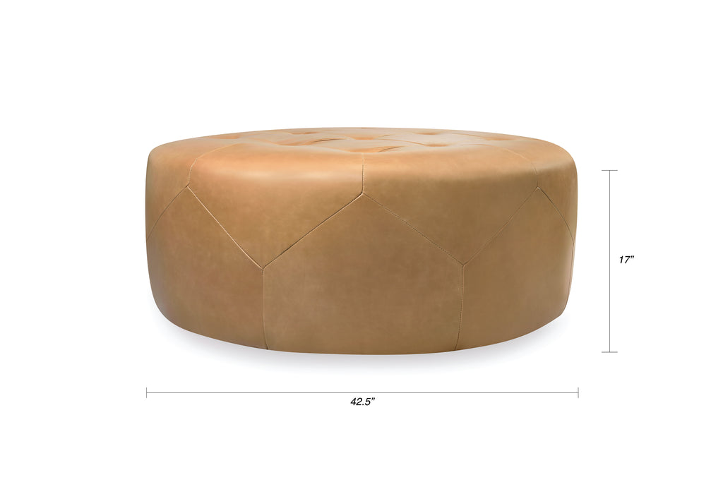 112LTHTAN,Freeman Ottoman in Tan Leather