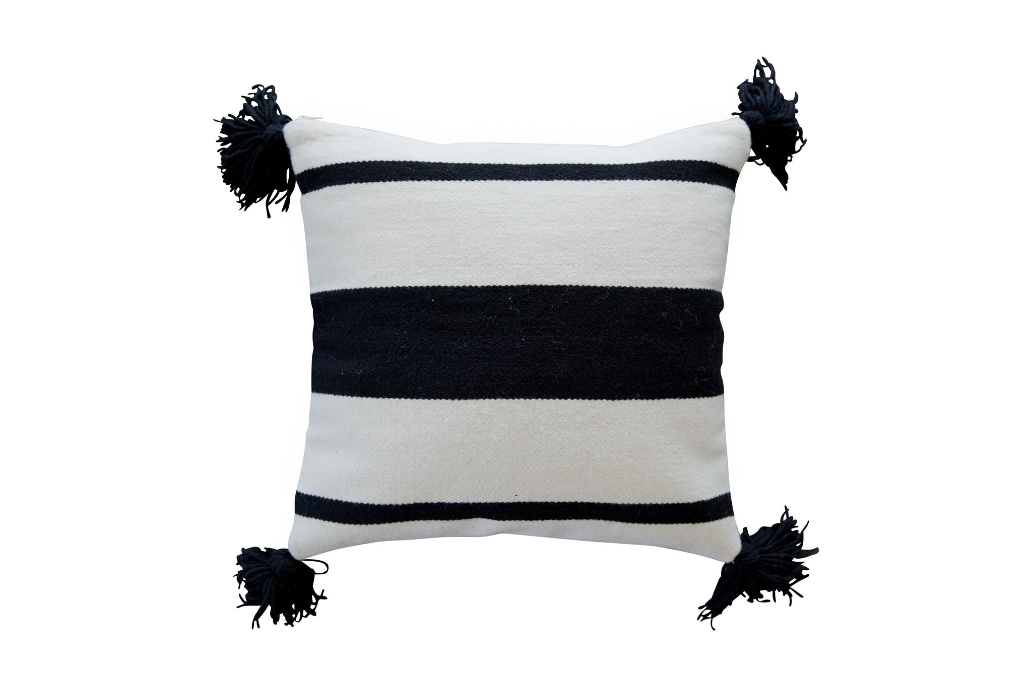2012BLK,Thick Striped Pillow in Black