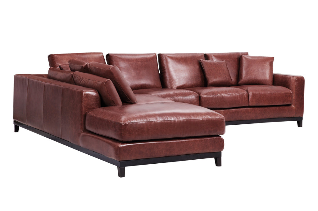 1011LTHBRNL,Kellan Sectional Sofa Left Chaise in Distressed Brown Leather