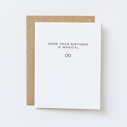 we hope that this harry potter inspired birthday card will bring a magical birthday to anyone. simple text reads
