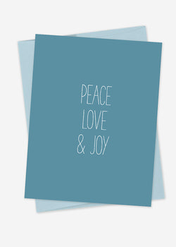 Peace, Love, & Joy Hand Lettered Card