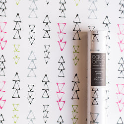 Pink, Black, and Green Bold Brushstrokes Wrapping Paper v2