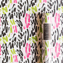 Pink, Black, and Green Bold Brushstroke Wrapping Paper v1