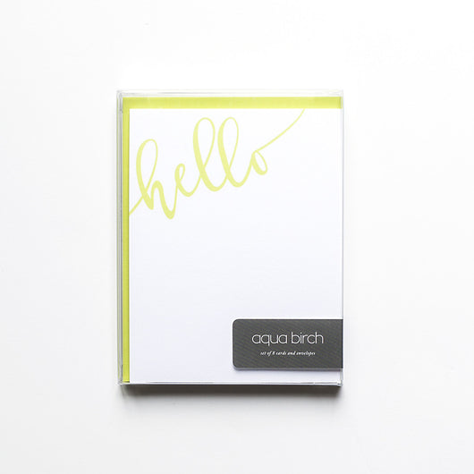 Hello Flat Note Card Set in Wasabi