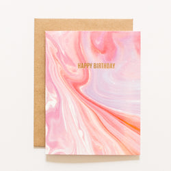 happy birthday gold foil card, pink marble paper, orange marble paper, kraft envelope, by aqua birch