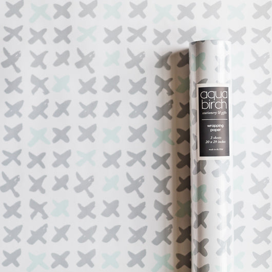 Brushed Kisses in Opal Blue and Pure Gray Pantone 2016 Wrapping Paper