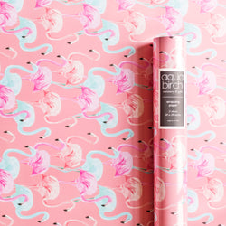 Flamingo Brights in Coral Wrapping Paper