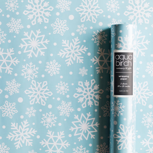 Holiday Snowflakes on Seafoam Wrapping Paper