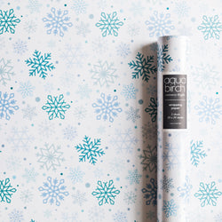 Holiday Snowflakes on White Wrapping Paper