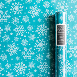 Holiday Snowflakes Teal and Seafoam Wrapping Paper