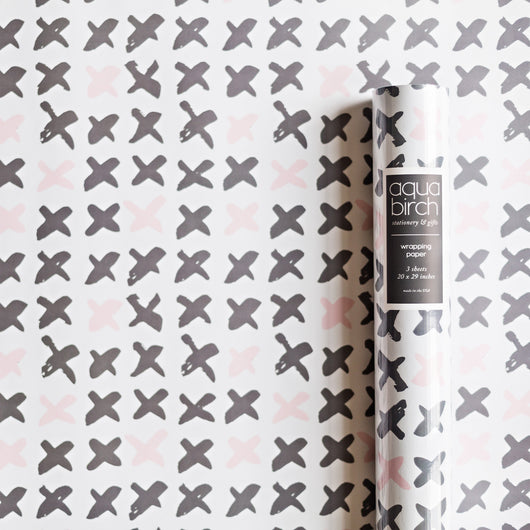 Brushed Kisses in Rose Quartz and Granite Pantone 2016 Wrapping Paper