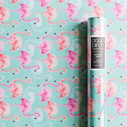 Flamingo Brights in Aqua Wrapping Paper