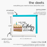 learn more about our birthday cake illustrated hand calligraphy card with our details sheet. this card measures A2 in size, is printed on 100% recycled paper, is paired with a bold teal envelope, and everything is made entirely in the USA