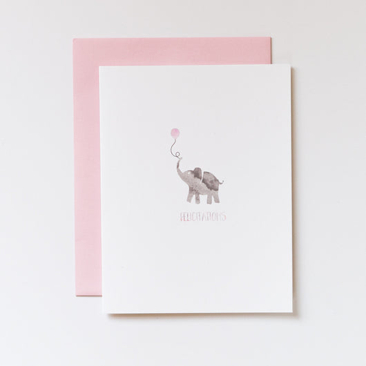 Felicitations Elephant in Baby Pink