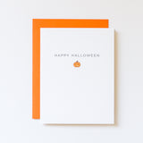 this jack o lantern card by aqua birch reads happy halloween and is paired with a mandarin orange envelope
