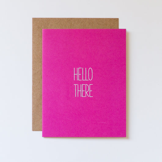 Hello There Hand Lettered Blank Note Card