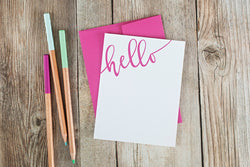 Hello Flat Note Card Set in Magenta