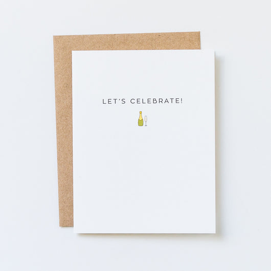 Let's Celebrate Champagne Glass Icon Greeting Card
