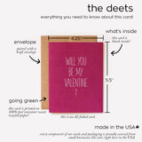 all the details on our will you be my valentine card in one quick reference sheet by aqua birch, this card is printed on recycled paper, made in america, made in the USA, aqua birch, blank inside, a2 card, folded card, kraft envelope