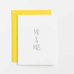 simply stated hand lettered wedding card by aqua birch, reads mr and mrs, engagement card, wedding card, yellow wedding, sunflower wedding, southern wedding