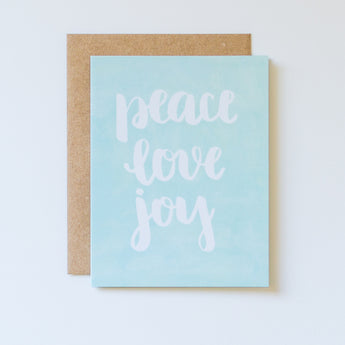 Peace, Love, Joy, Brush Lettered Watercolor Card
