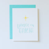 Peace On Earth Brush Lettered Watercolor Card