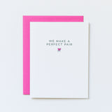 perfect pair mitten card, aqua birch cards, we make a perfect pair, perfect pear, pun card, cute anniversary card, valentine card, magenta pink envelope