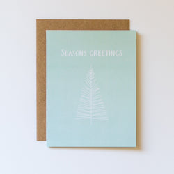 Seasons Greetings Seafoam and Winter White Illustrated Card