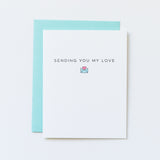 sending you my love card by aqua birch, miss you card, cute envelope icon with heart inside, minimal emoji style icon, seafoam envelope, aqua blue envelope, recycled greeting card