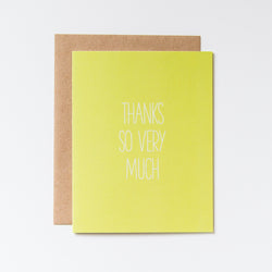 Thanks So Very Much Wasabi Green Hand Lettered Card
