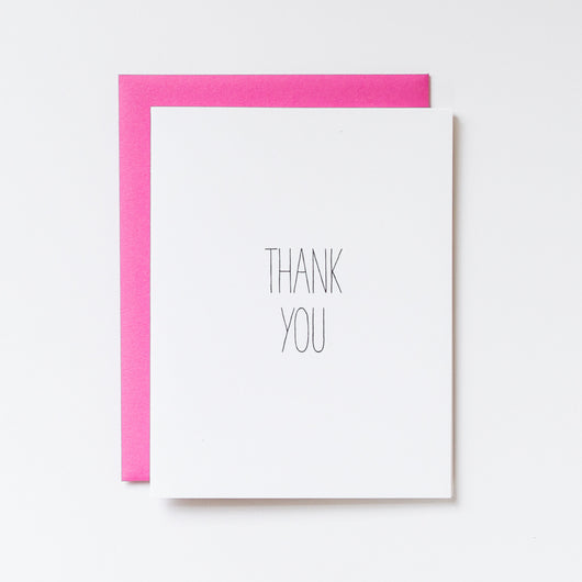 our simple hand lettered thank you card is perfect for any bachelorette party thank you, bridal shower thank you, baby shower thank you, or wedding thank you. It's paired with a bold magenta envelope so it's sure to stand out!