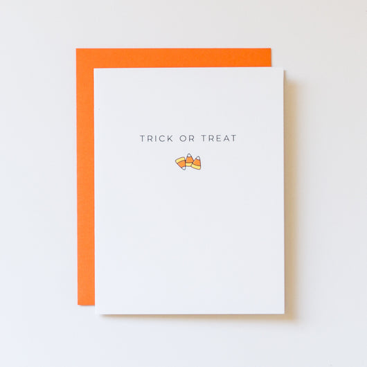 Trick or Treat Candy Corn Icon Halloween Card