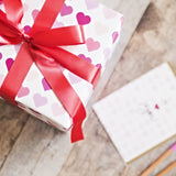 Valentine's Hearts on White Wrapping Paper