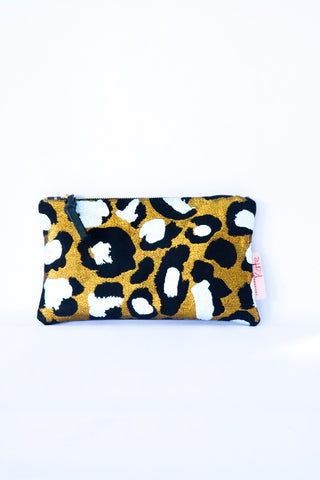 Gold Leopard Spot Clutch