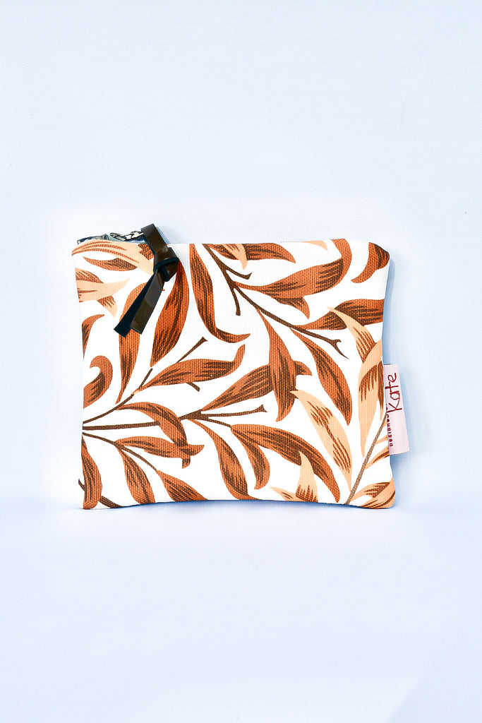 Burnt Orange Leaves Leather Purse