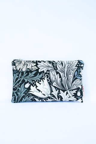 Fleur De Lis Silver Leather Clutch